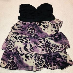 💛 Purple Sparkle Leopard Fun Ruffle Party Dress